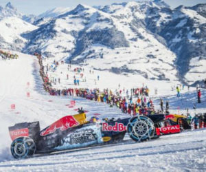 Red Bull F1 Car Takes to the Slopes