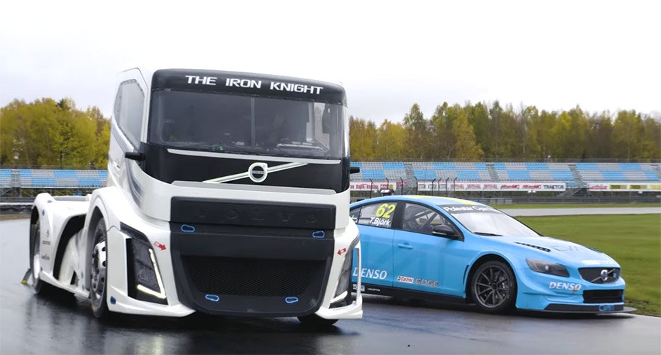 Watch a Volvo Big Rig Take on a Polestar Race Car - 95 Octane