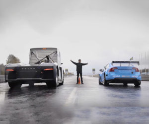 Watch a Volvo Big Rig Take on a Polestar Race Car