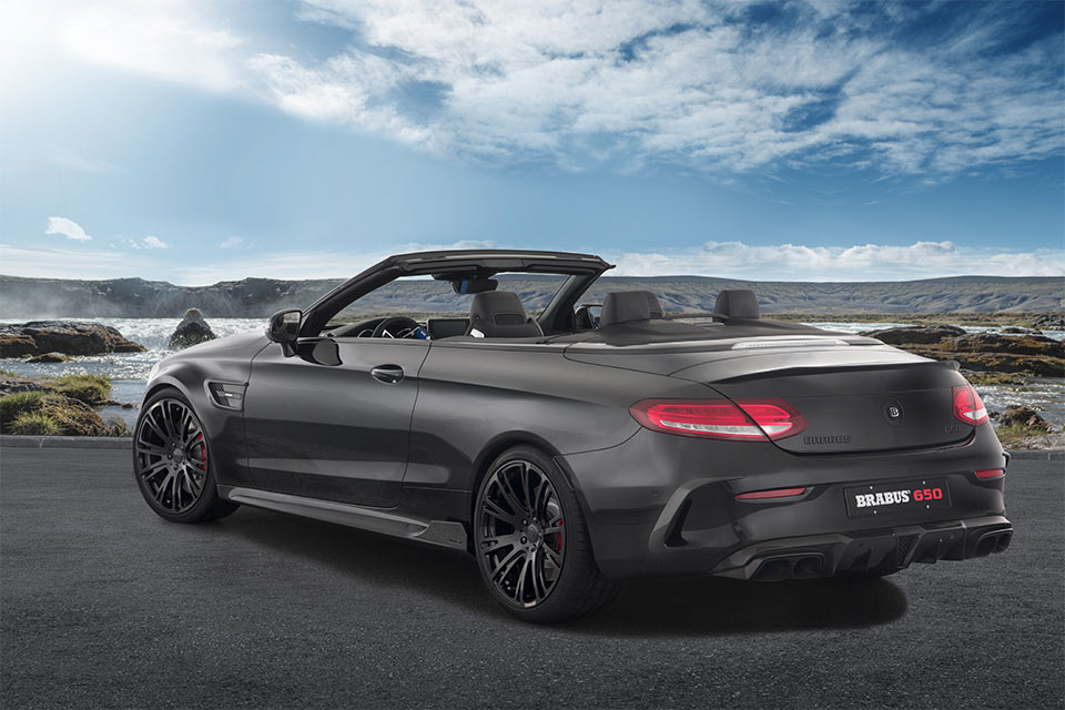 Brabus 650 cabrio amps up mercedes c63 s drop top 95 octane for Drop top mercedes benz prices