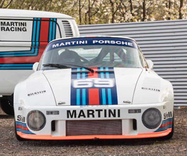 Martini Liveried Porsche 934/5 and VW Bus are the Perfect Pair