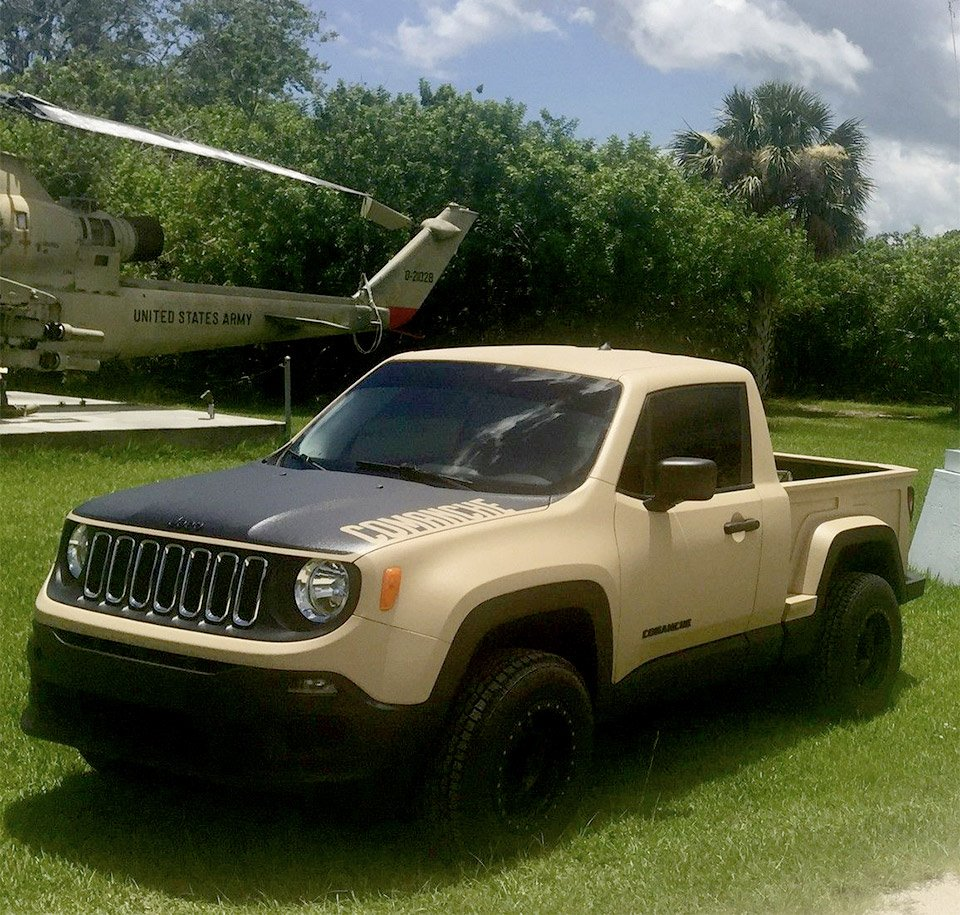 jeep renegade turned into a mini comanche pickup truck 95 octane. Black Bedroom Furniture Sets. Home Design Ideas