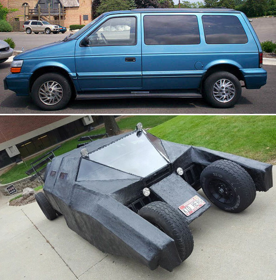 Guy Turns Dodge Minivan into Batman's Tumbler