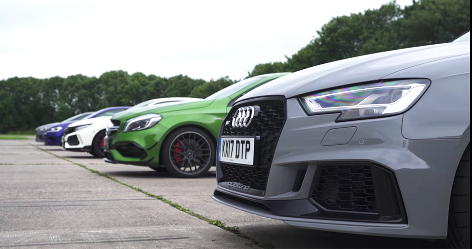 A European Hot Hatch Drag Race