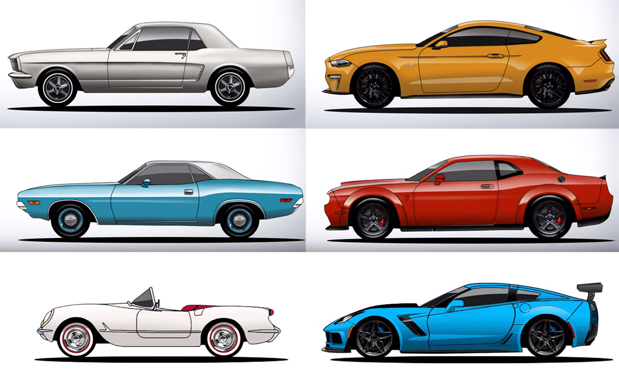 The History and Evolution of the Mustang, Challenger, and Corvette
