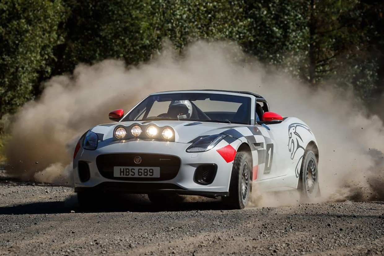 Jaguar F-TYPE Droptop Rally Car Tosses Some Gravel