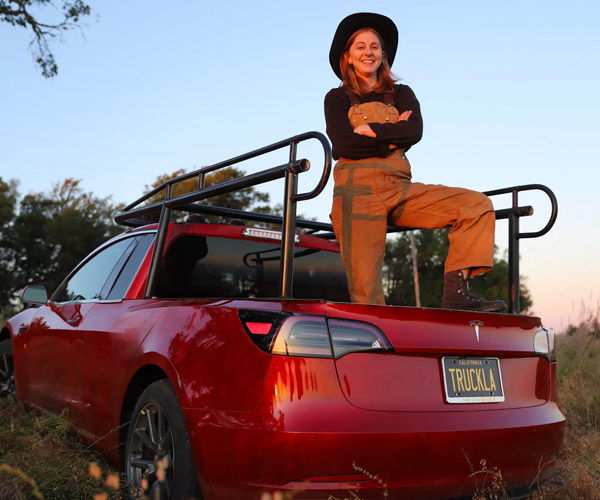 Simone Giertz Turned Her Tesla Model 3 into a Pickup Truck