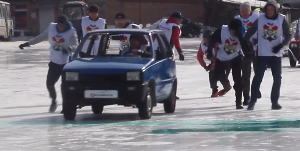 Russians Go Curling with Cars