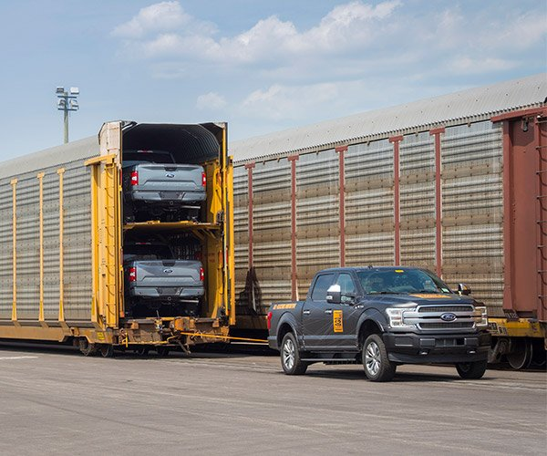 Ford's Electric F-150 Pickup Truck Tows a Train