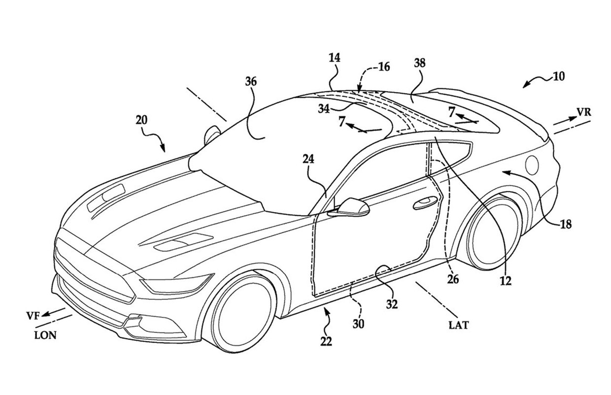 Ford Patent Application Hints at Mustang Windshield That Curves onto Roof