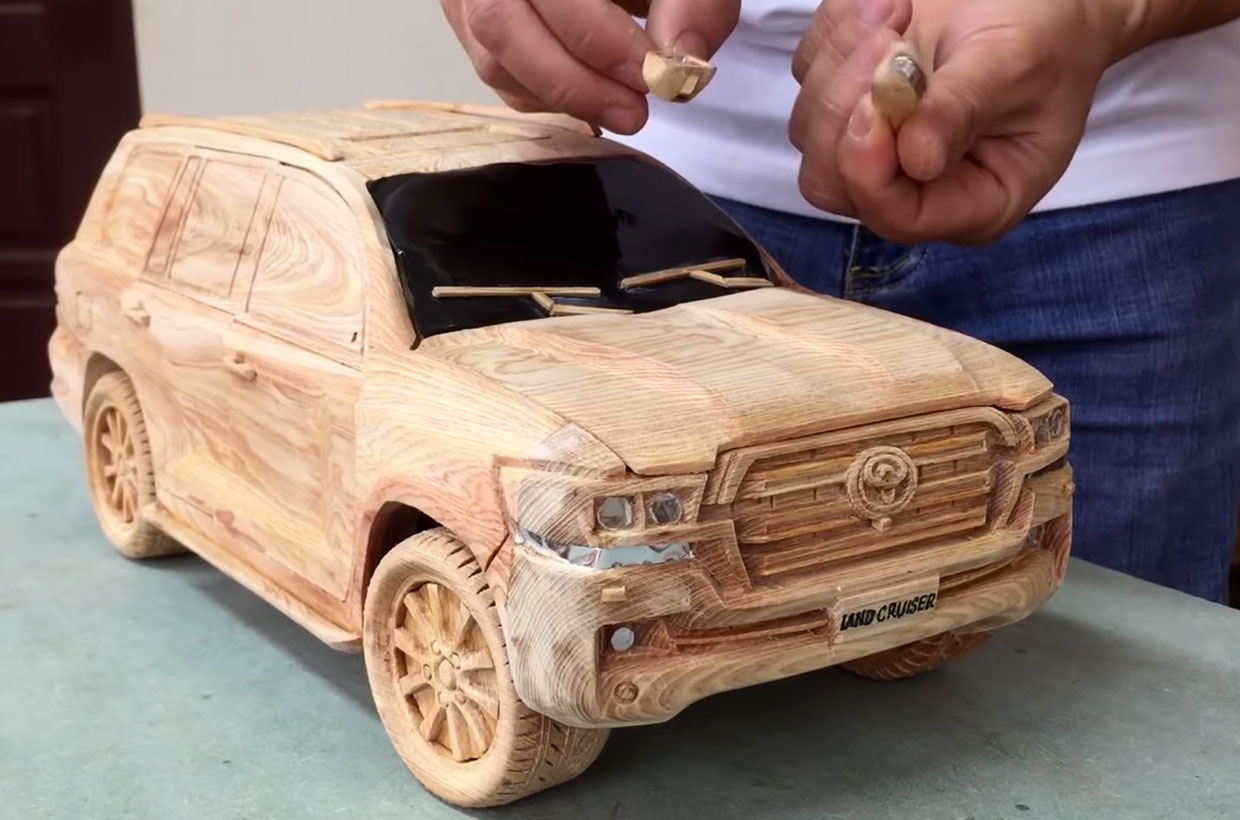 Watch a Woodworker Make a Detailed Toyota Land Cruiser Model
