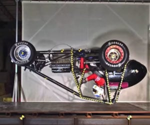 Crash Testing Sprint Cars Includes Dropping Them from the Ceiling