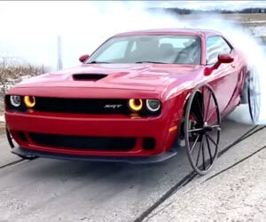 Watch a Dodge Challenger Hellcat Do Burnouts with Buggy Wheels