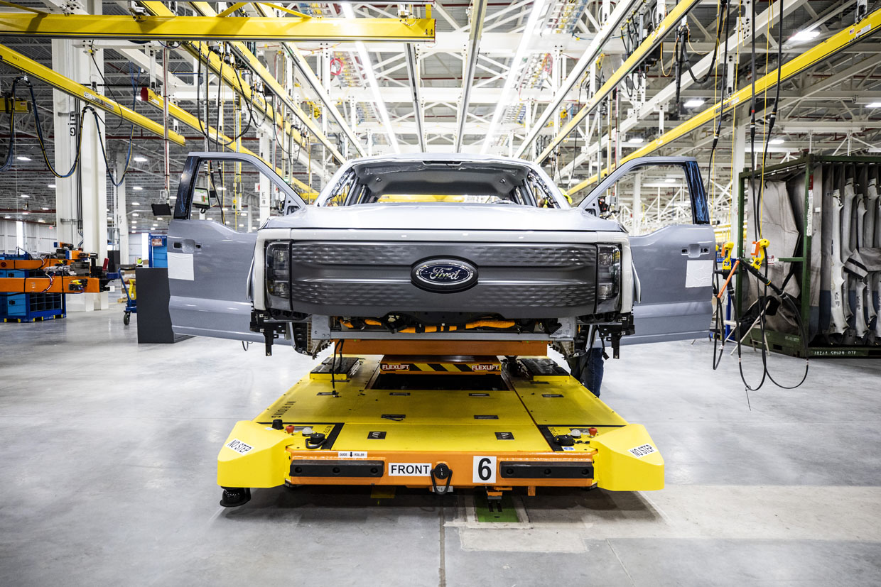 Pre-production Ford F-150 Lightning Trucks Rolling Off the Assembly Line